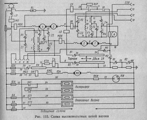 схема силовой цепи вагона Т-3
